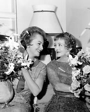 Bette Davis & Olivia de Havilland smiling w/ flowers 1964 movie star 8x10 photo