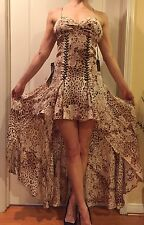 Bebe Gold Lace Up Gorgeous Mini Maxi Dress 100% Silk Leopard Brown 6 $498 NWT