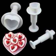 3pcs Mini Heart Plunger Cutters Sugarcraft Cake Cookies Decorating Tools Mold #T