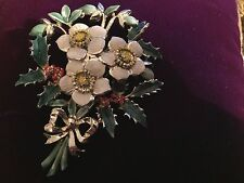 VINTAGE  1950 'S EXQUISITE BIRTHDAY BROOCH - CHRISTMAS ROSE - FOR DECEMBER