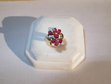 $2300 - Fine 80'S NATURAL Ruby & Diamond cocktail ring 14K rose gold