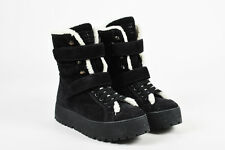 Prada Sport Black & White Suede Shearling Lace Up Platform Boots SZ 38