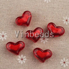 100pcs 21.5*16mm Red Heart Acrylic Bead Pendant Charm Bracelet Necklace