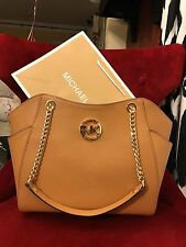 NWT MICHAEL KORS JET SET TRAVEL SAFFIANO LARGE CHAIN SHOULDER TOTE BAG IN ACORN