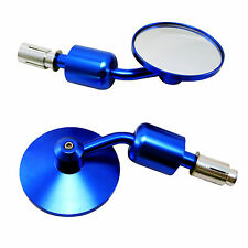 Pair of BLUE Bar End Mirrors for Ducati Streetfighter & Cafe Racer Project Bike