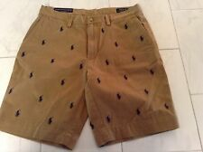 NWT POLO RALPH LAUREN MENS KHAKI SHORTS PONIES ALL OVER CLASSIC FIT SIZE 35