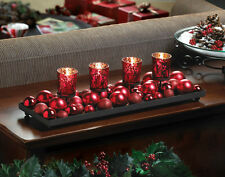 RED Christmas ball ornament fireplace long centerpiece CANDELABRA Candle holder