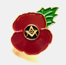 Masonic Enamel Lapel Poppy Pin Badge - raising funds for Royal British Legion