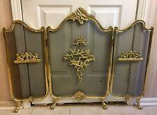 Vintage French fireplace screen Rococo Art Nouveau Brass Birds Mythological