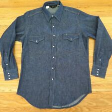 VINTAGE ORIGINAL ROEBUCK WESTERN PEARL SNAP BUTTON DENIM SHIRT LARGE 1960's