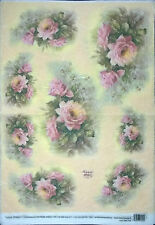 Rice Paper for Decoupage, Scrapbooking and other,Pink Roses, 33x49 cm