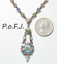 Exquisite Signed PoFJ Necklace, Multi-Color Pastel Crystals & AB,ST Figaro Chain