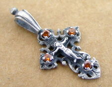 Old Russian Great Small CROSS Sterling Silver, Jesus Christ, 4 Yellow Stones