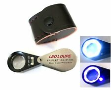 Light Loupe LED + UV Jewellers Magnifier Eyeglass 21mm 10x Magnifying Lens