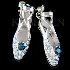 w Swarovski Crystal ~Blue Ballerina Shoes Slippers Ballet Dance Earrings Jewelry