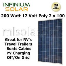 200Watt 12V  2 x 100W POLY SOLAR PANEL PV CHARGING RV BOATS OFF GRID CAMPING