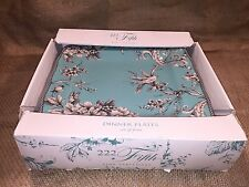 222 Fifth Adelaide Turquoise Toile Transferware Square Dinner Plates Set of 4