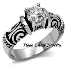 HCJ Antique Inspired Stainless Steel Cubic Zirconia Engagement Ring- SIZE 7