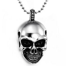 MENDINO Men's 316L Stainless Steel Pendant Chain Necklace Gothic Skull Polished