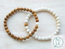 Couple of Wooden/Fossil Natural Gemstone Bracelets 7-8'' Elasticated Healing