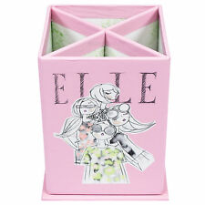 Elle Pink Fashion Pen Pencil Storage Pot Office Desk Tidy Stationery Organiser