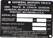 1953 1954 1955 1956 1957 1958 1959 GMC TRUCK CAR TAG ID  DASH  PLAQUE