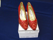 SERGIO ROSSI RED NAPPA LEATHER HEELS SIZE 37 1/2 / 7 1/2