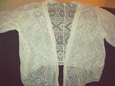 HOLLISTER FRONT TIE CROCHETED SWEATER/CARDIGAN ONE SIZE FITS ALL WHITE EUC