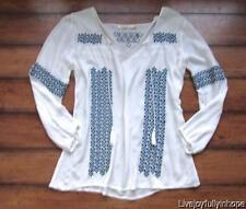 SOLITAIRE ~ New! Size S ~ Bohemian 100% Rayon EMBROIDERED Beach Pullover Shirt
