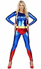 Wet Look Comic Style Catsuit Superhero Women's Superwoman Costume Halloween S/M