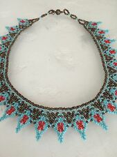 "Czech Bead TURQUOISE RED BRONZE 17"" LACE Collar Choker Boho Hippie NECKLACE"