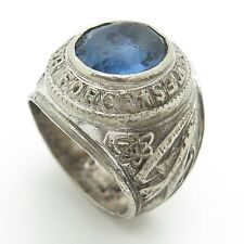 Pride Vintage Sterling Silver Blue Topaz US Air Force Military Men's Ring