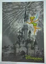 Disneyland Paris Postcard Gray White Castle Colorful Tinker Bell