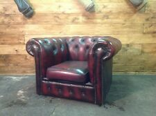Poltrona Chesterfield Club Vintage Originale Inglese in Pelle Bordeaux