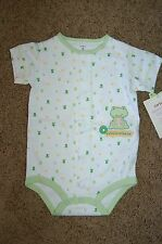 NWT Infant Carter's Embroidered Frog Short Sleeve Creeper Bodysuit Size 9M FS