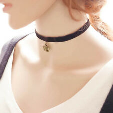 Chic Velvet Crown Ribbon Choker Medieval Pagan Clavicle Necklace Pendant ZXF