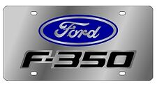 New Ford F-350 Blue/Mirrored Logo Stainless Steel License Plate