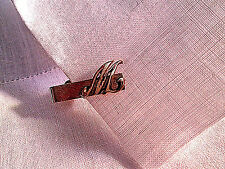 """14K Yellow Gold Victorian TIE SCARF CLIP Letter """"M"""" or """"W"""" Metal 7/8"""" L 2.1 gram"""