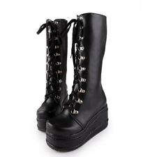 UK Ladies Mid Calf Knee High Boots Lace up Platform Goth Punk Boots Shoes Size 8