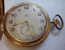 ANTIQUE OMEGA 18K SOLID GOLD ENGRAVED CASE POCKET WATCH 78,4 GRAMS
