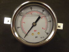 0-60 PSI ,Glycerine Filled Panel Mounted Pressure Gauge 63mm Dia, 0.4 Bar Gauge