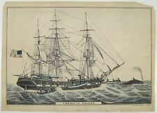 N. CURRIER & IVES Lithograph Print AMERICAN WHALER Sailing Ship Whaling No Date