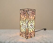 "12.5"" Stained Glass Tiffany Style Square Desktop Flower Night Light Table Lamp."