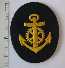ORIGINAL WW2 Vintage GERMAN NAVY MACHINIST PETTY OFFICER PATCH Hand Embroidered