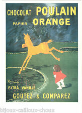 "Carte postale repro de publicité ancienne "" Chocolat Poulain papier Orange """