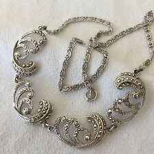 """VTG STERLING SILVER BEAUTIFUL MARCASITE RHINESTONE LINK NECKLACE 16"""" LONG NICE!"""