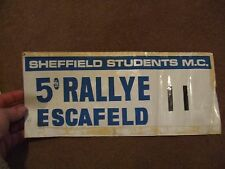 COMPETITORS ROAD RALLY PLATE BONNET NUMBER SHEFFIELD SMC 5TH RALLYE ESCAFELD