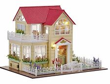 New Dollhouse Miniature DIY Kit Dolls House With Furniture Gift Princess Cottage