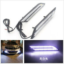 2 Pcs 12V HID White LED Blade Shape Car Front Daytime Running Lights Fog Lamps