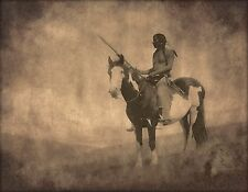 Native American, paint horse,  Canvas Art, antique wall decor, photo, 24x18